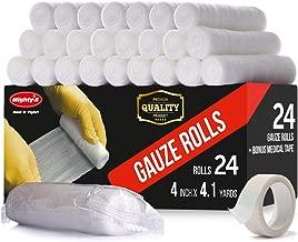 Premium Gauze Roll - 24 Pack - FDA Approved Gauze Bandage Roll (4 inches x 4.1 Yards) - Latex Free Rolled Gauze - Gauze Wrap + Bonus Medical Tape