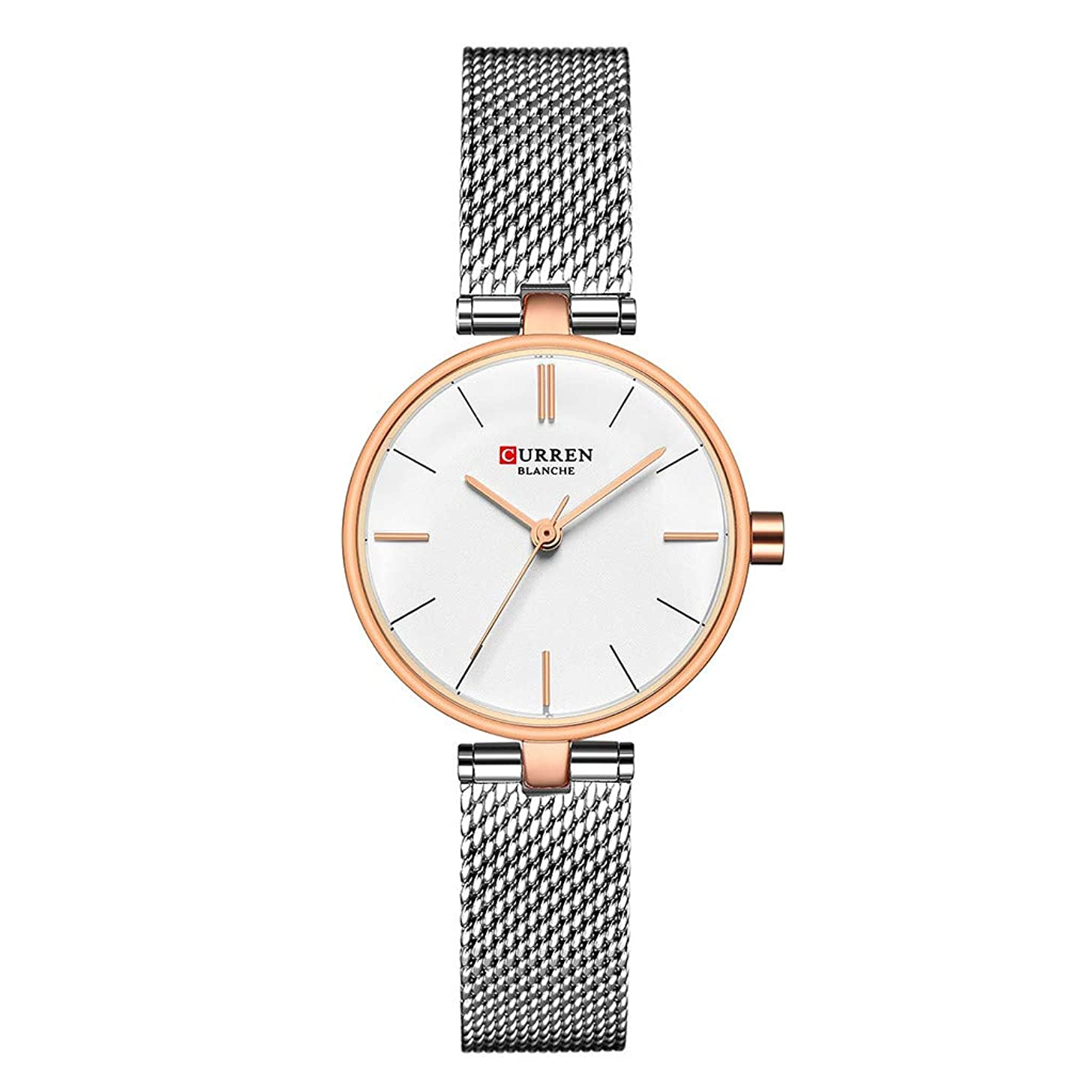 LUCAMORE Ultra Thin Quartz Stainless Steel Mesh Band Women's Watch Fashion Simple Analog Wrist Watches