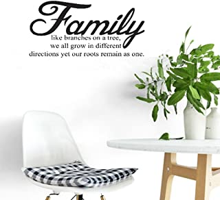 Wall Sticker Quote Wall Decal Funny Wallpaper Removable Vinyl Family Like Branches on a Tree we All Grow in Different Directions Yet Our Roots Remain as one for Living Room