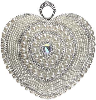 Handbag - Mini Heart and Diamond-encrusted One-shoulder Bag, Vintage Luxury Lady Holding Evening Bag, Black/gold/silver, 18x9x20CM Shining (Color : Silver)