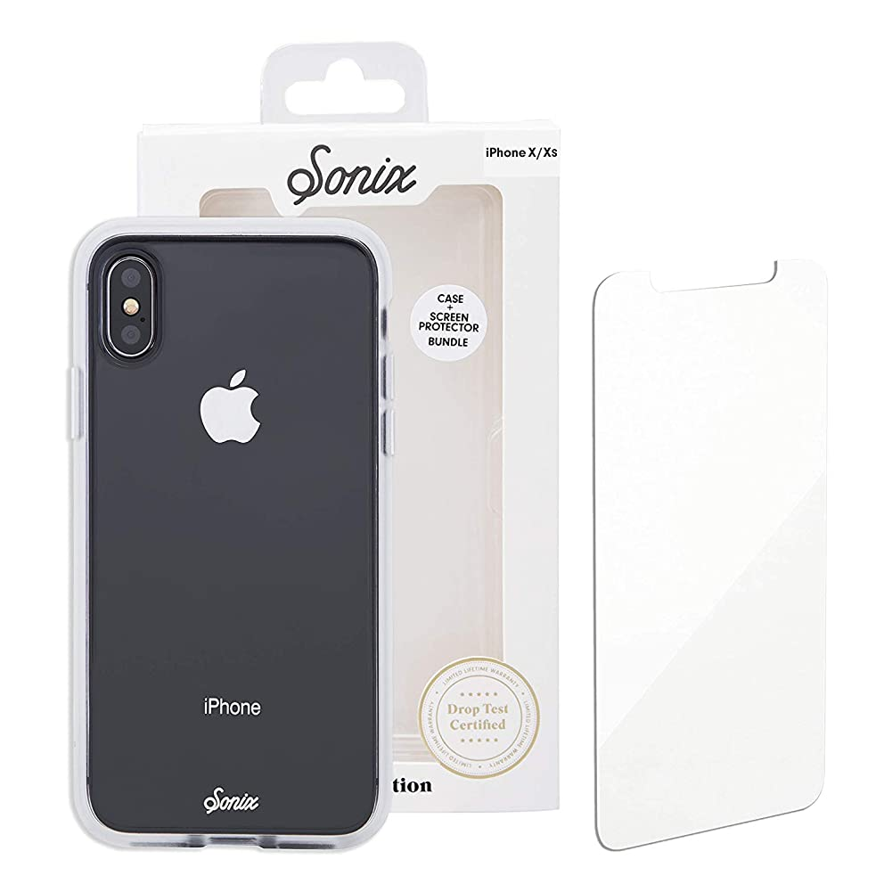 iPhone Xs Max, Sonix Clear Cell Phone Case and Tempered Glass Screen Protector [Military Drop Test Certified] Clear Case and Screen Protector Bundle Pack for Apple iPhone Xs Max