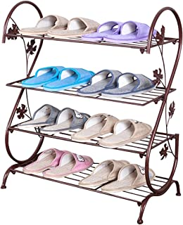 AISHN Continental Iron Multi-layer Simple Shoe Rack Storage Metal Small Four Quarters Shoe Stand (Bronze)