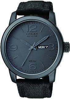 ساعة سيتيزن للرجال ايكو-درايف BM8475-00F بسوار نايلون اسود كوارتز ومينا رمادي