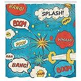 AYogg Cortina de Ducha Estilo de Arte Comic Speech Bubbles Humor Humor Expresiones Boom Splash Bang Tela Decoración de baño Set Azul Crema Rojo