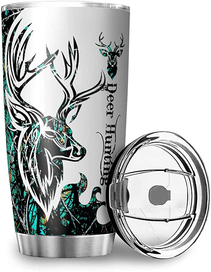 Stainless Steel Tumbler 20oz Deer Hunting Camo Double Wall Vacuum Insulated Drinking Travel Mugs With Lid For School Gift For Men Women Kids White 20oz Tumblers Water Glasses Amazon Com