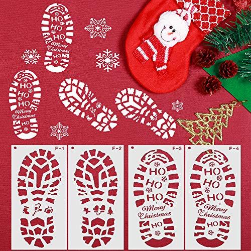 Schablonen Weihnachten, ZoneYan Weihnachtsschablonen Weihnachten, Schablone mit Weihnachtsmann-Fußabdruck, Zeichenschablonen, Schneeflocken schablone, Sprühen von Fenstern, Heiligabend Dekoration,4Stk