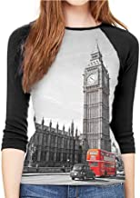 Casual Women's mid-Sleeve T-Shirt London Tan Grey and Ivory