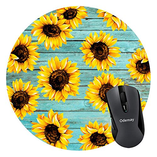 Sunflower Mouse Pad for Computers & Laptop, Non-Slip Rubber Round Mousepad, Teal Wooden