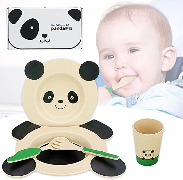Panda Tableware Sets Feeding Tableware Sets Panda Style 5 Pieces Bowl Plate Cup Fork Spoon With Gifts Package Non Toxic Eco Friendly FDA LFGB Certified Plantfiber Cute Dinnerware Sets