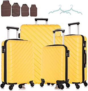 4 Piece Luggage Set Carry on Luggage with Spinner Wheels Travel Luggage set 4 PCS Suitcase (Yellow)