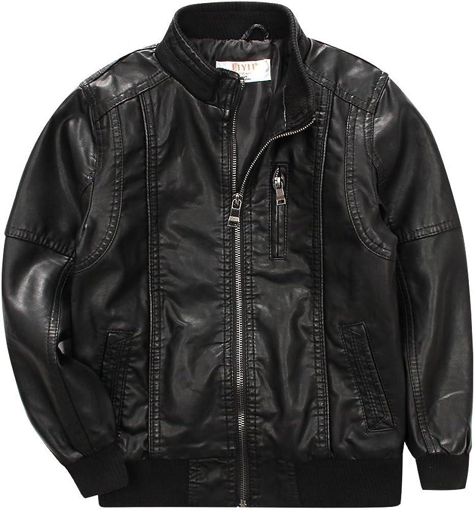 LJYH Boys'Classic Stand-Collar Faux Leather Moto Biker Jacket