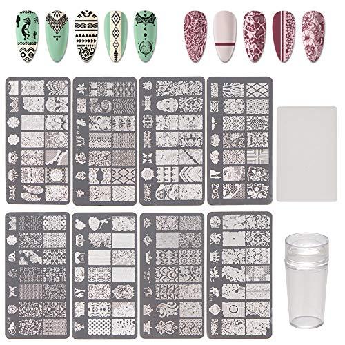 NICENEEDED Kit de Estampado para Decoración de Uñas con Placas de Uñas de 8 pieza, 1 estampadora de Uñas, 1 raspador de Uñas con Placas de Imagen de Patrón Geométrico de Encaje Herramientas de Arte