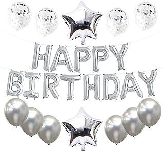 Haimimall Happy Birthday Balloons Set Silver -13pcs Letters Balloons 2pcs Giant Star Foil Balloons 4pcs Confetti Balloons ...