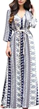 LISTHA Women Long Sleeve Long Maxi Dress V Neck Printed Dresses with Belt