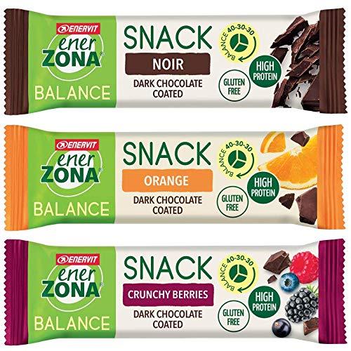 EnerZona Snack Balance Variety Pack ● 30 Barrette da 33g ● 10 Cioccolato Fondente + 10 Arancia +...