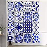VINISATH Cortinas de Ducha,Patrón Marroquí Mosaico Floral Lisboa Mediterráneo Azul Marino Mexicano Arabesco,Cortina de baño Decorativa para baño,bañera 180 x 180 cm