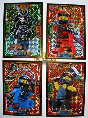 Lego Ninjago Serie 4 - 4 Limitierte Gold Karten Trading Card LE 9 Mega Böser Garmadon LE 1 Mega Power Kai LE 2 Mega Power Cole LE 6 Mega Power Jay + 1 Ninja Schutzhülle + 1 Gold Sticker