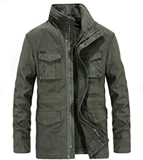 Gooding Day Stand Collar Military Jackets for Men Cotton Pockets Zipper Embroidery Men's Jackets Coat