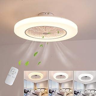 Ventilateur de plafond avec lumières et télécommande, modernes ventilateur de plafond avec lampe LED 36W, 3 temporisations...
