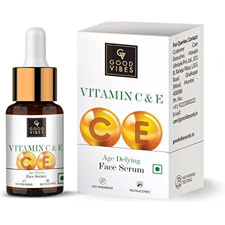 Good Vibes Vitamin C & Vitamin E Age Defying Serum, 10 ml Light Weight Non Greasy Helps Reduces Wrinkles Skin Repair, Naturally Glowing Face Serum, No Parabens & Sulphates, No Animal Testing