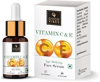 Good Vibes Vitamin C & Vitamin E Age Defying Serum, 10 ml Light Weight Non Greasy Helps Reduces Wrinkles Skin Repair, Natu...