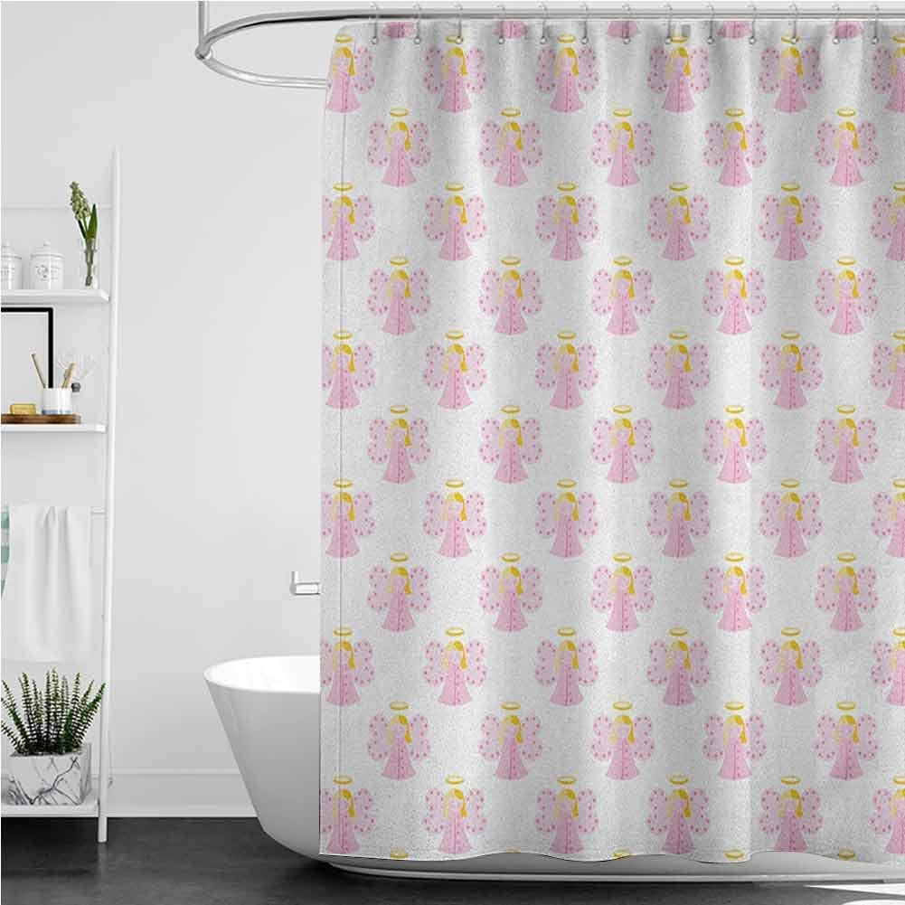 StarsART Bathroom Shower Max 74% OFF Curtain Cute Angels Girl Wing Halo with New arrival