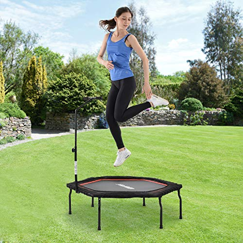 DuraB Fitness Trampoline Adult with Handle 50' - Sports Trampoline foldable for Home Use Ø127cm - Bounce Trampoline Fitness Max. Load 120kg - Keep Fit Trampoline Indoor (50' - red)