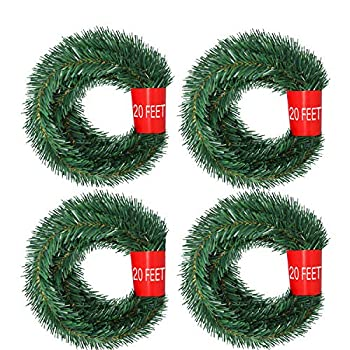 Artiflr 4 Strands Christmas Garland Total 80 Feet Artificial Pine Garland Soft Greenery Garland for Holiday Wedding Party,Stairs,Fireplaces Decoration Outdoor/Indoor Use