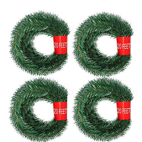 Artiflr 4 Strands Christmas Garland, Total 80 Feet Artificial Pine Garland Soft Greenery Garland for Holiday Wedding Party,Stairs,Fireplaces Decoration, Outdoor/Indoor Use
