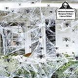 FHzytg Halloween Deko 300 Gramm Spinnennetze mit 40 Spinnen Halloween Deko für Halloween Party und...