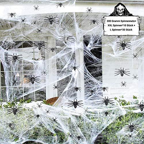 FHzytg Halloween Spinnennetze, Halloween Deko Set mit 300 Gramm Spinnennetze und 40 Stück Spinnen, Spinnennetz Halloween Spinne Deko, Spinnen Halloween für Halloween Deko Draußen, Tür, Fenster