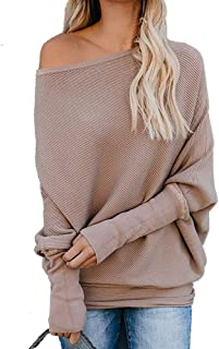 YEXIPO Women's Oversized Off The Shoulder Sweaters Batwing Long Sleeve Loose Fall Knit Jumper Pullover Sweater Tops