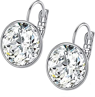 nickel free MDFUN Opal Dangle Earrings Leverback and 18K White Gold Plated CZ Stud Earrings Round Hypoallergenic Fashion for Women and Girl