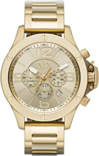 A|X Armani Exchange Men's 48mm Goldtone Stainless Steel Bracelet Watch with Goldtone Dial