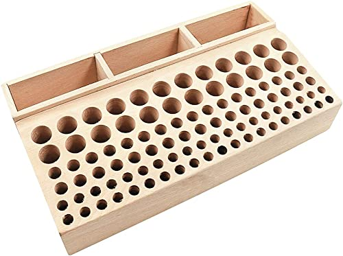 wholesale Professional wholesale Leathercraft Tool Holder, 98 Holes with 3 Slots, Wooden discount Tools Organizing Storage for Leather Working sale