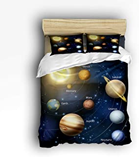 Cloud Dream Home 4 Piece Bedding Set,Solar System Orbit The Sun with Names of Planets Duvet Cover Set Quilt Bedspread for Childrens/Kids/Teens/Adults Full Size