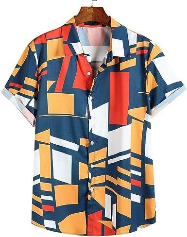 Berimaterry Funky Camisa Señores Manga Corta Bolsillo Delantero Impresión de Hawaii Playa Hawaiana para Hombre Casual Camisas Verano Unisex 3D ...