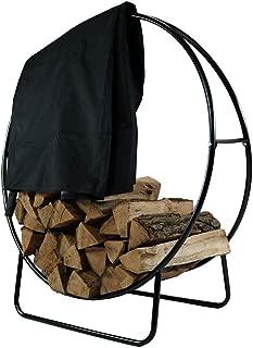 Sunnydaze Outdoor Log Hoop w/Black Cover, 40 Inch Steel Firewood Rack
