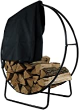 Sunnydaze Outdoor Firewood Log Hoop and Cover Set - 40-Inch Powder-Coated Steel Lumber Storage Rack and Black Weather-Resistant Heavy-Duty Protective PVC Cover