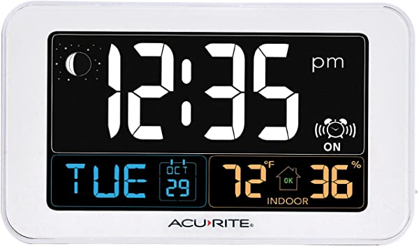 AcuRite Intelli Time Alarm Clock With USB Charger Indoor Temperature And Humidity 13040CA