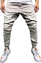 Men Casual Pure Color Slim Fit Multi-Pocket Overalls Long Pants Tethers Elastic Belts Beam Feet Trousers