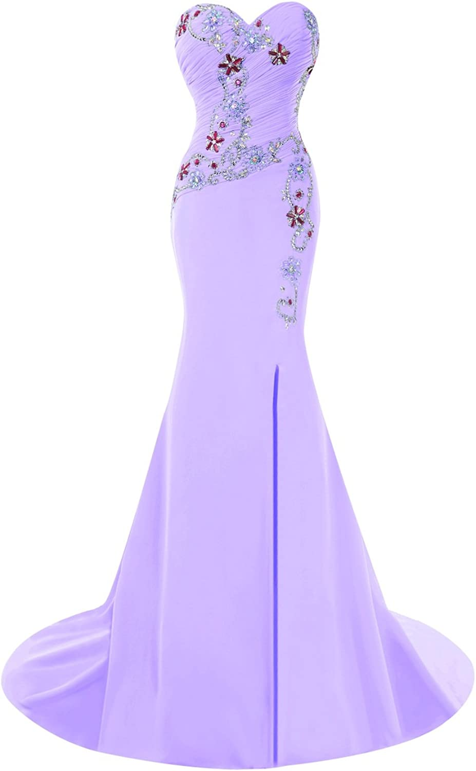 Bess Bridal Women's Mermaid Split Side Prom Dresses with Beads
