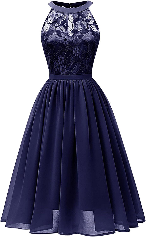 Women's Lace Chiffon Halterneck Large Swing Skirt Party Dress Cocktail Prom Ballgown Vintage Vase Shape Dress