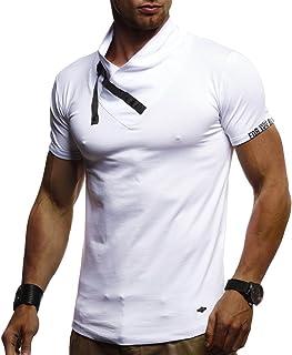 LEIF NELSON Herren Sommer T-Shirt Stehkragen Slim Fit Casual Baumwolle-Anteil   Cooles weißes schwarzes Männer Kurzarm-T-Shirt Hoodie-Sweatshirt-Longsleeve lang   LN980