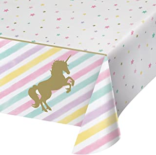 Creative Converting 329302 All Over Print Plastic Tablecover, Unicorn Sparkle, One Size, Multi Color