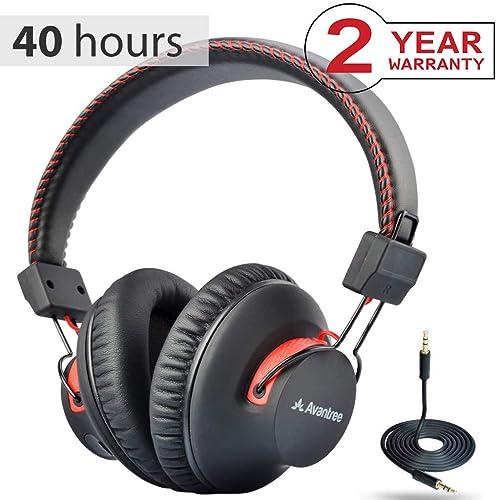 Avantree 40 horas aptX Hi-Fi Auriculares Diadema Bluetooth Inalambricos para TV con micrófono,