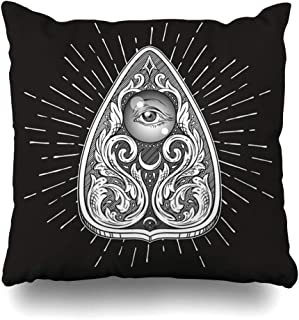 DIYCow Throw Pillows Covers Aged Ouija Board Mystifying Oracle Planchette Antique Style Boho Chic Sticker Tattoo Alchemy Divination Home Decor Pillowcase Square Size 20 x 20 Inches Cushion Case