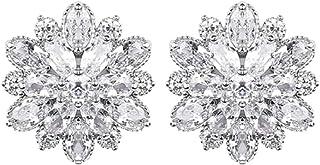 XBKPLO Earrings for Women's Simple Crystal Flower Fashion Silver Full Diamond Stud Earring Alloy Jewelry Gifts