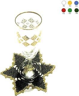 Posavaso estrella verde y dorado de ganchillo para Navidad - Tamaño: ø 15.5 cm - Handmade - ITALY
