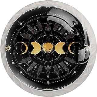 4 pomos de 35 mm Moon para gabinete de 35 mm con asas redondas de cristal con tornillos para el hogar la oficina la coc...